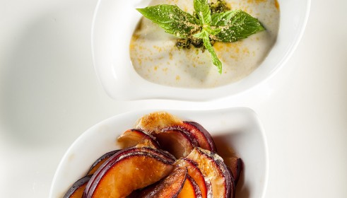 BALLARINI Recipe Peach and pistachio gratin with pistachio mousse