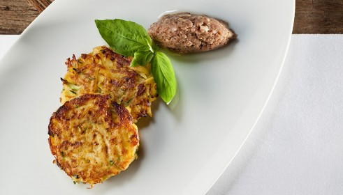 BALLARINI Recipe Potato and courgette rosti with anchovy and caper pesto