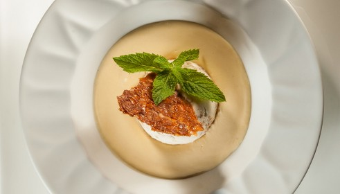 BALLARINI Recipe Torrone parfait with almond foam