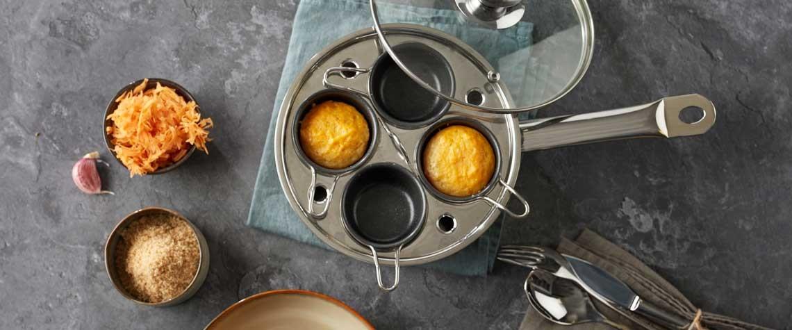 Wortelmuffins met kandijsuiker in de gourmetpan van Demeyere