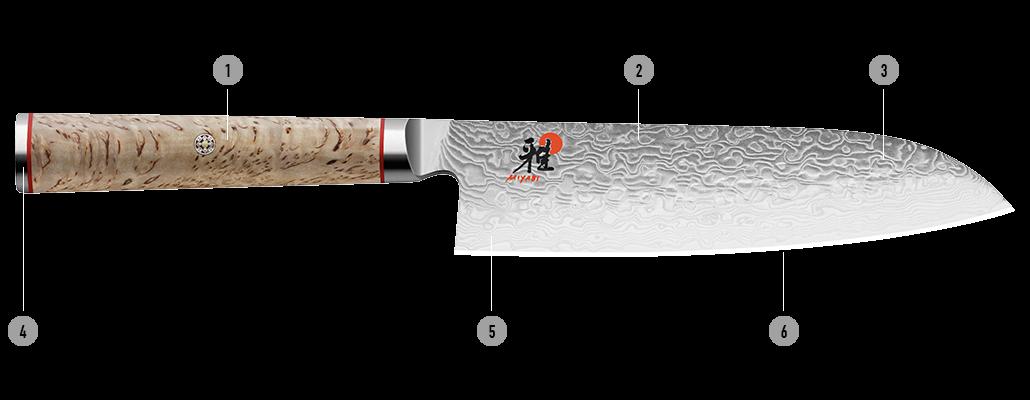 Detalles del cuchillo japonés MIYABI 5000MCD