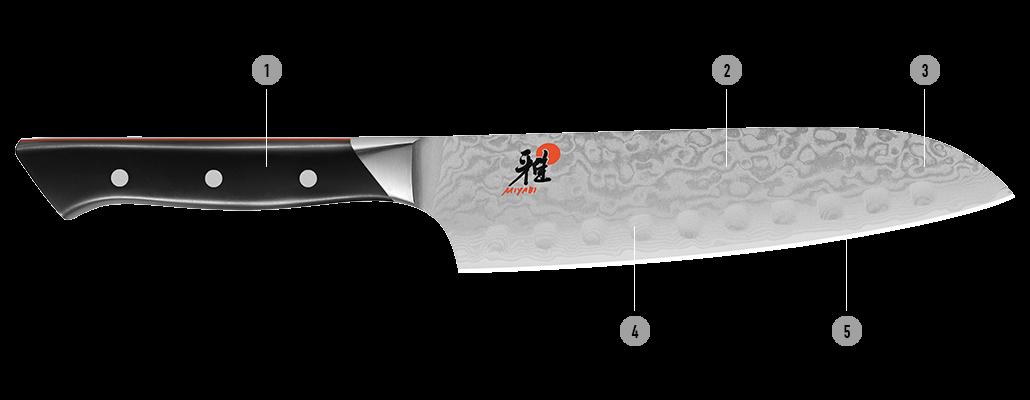 Detalles del cuchillo japonés MIYABI 600D