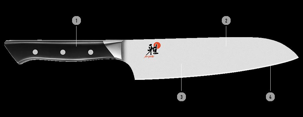 Detalles del cuchillo japonés MIYABI 600S