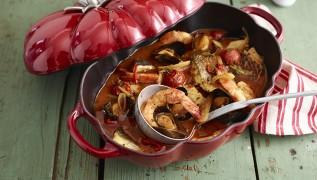 STAUB Rezept würziger Tomaten-Fisch-Eintopf