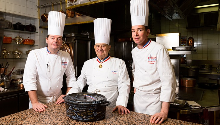 Paul Bocuse in the kitchen of his restaurant