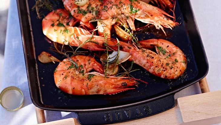STAUB recipe king prawns Plancha