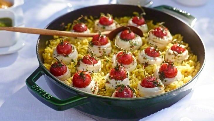 STAUB Rezept Seezungen Röllchen Paella