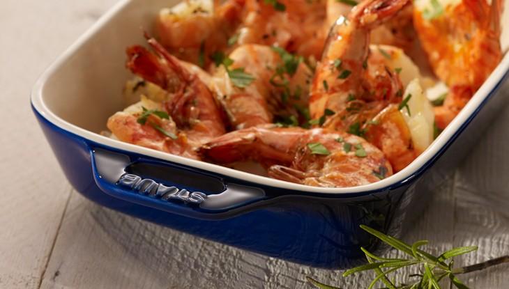 STAUB Recipe Garlic shrimp tails
