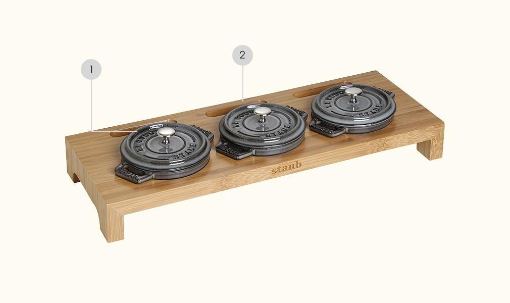 Ständer für bis zu 3 runde Cocottes