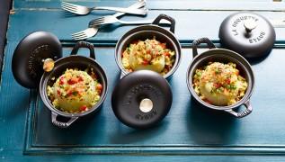 Staub Recette - Chou-rave farci au risotto de légumes