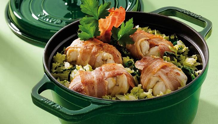 STAUB recipe Monkfish bacon