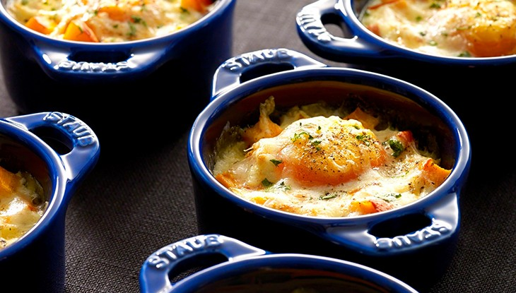 STAUB recipe eggs, pumpkin Comté